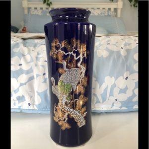 Vintage Japanese blue crane vase